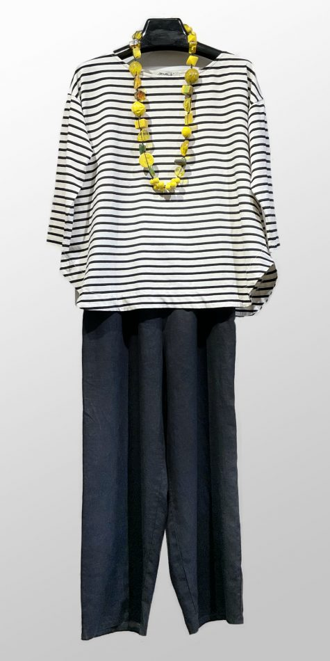 Mama B striped A-line knit tee, over Flax floods in Black. Paired with a bright yellow Sobral necklace.
