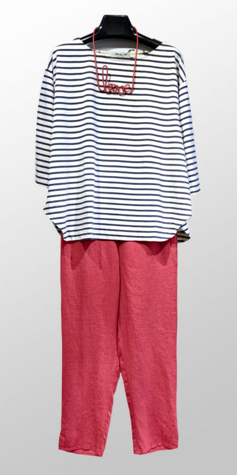 "Mama B striped knit tee, over Flax ankle pants in Rhubarb red. Paired with a Samuel Coraux ""love"" necklace."