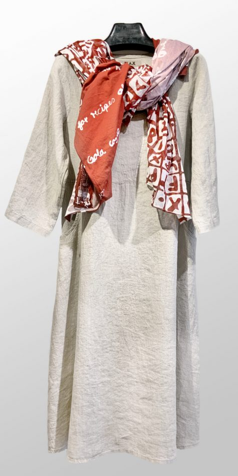 Flax 3/4 sleeve A-line linen dress in Natural, paired with a Rundholz Black Label printed knit cotton shawl.