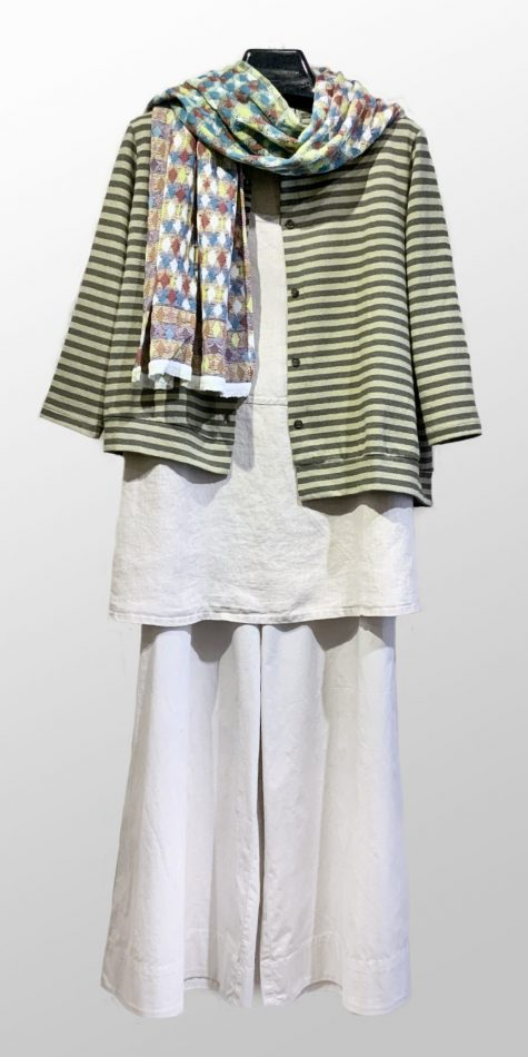 Mama B striped cotton asymmetric cardigan, over a Flax linen tank top, and Mes Soeurs et Moi cropped wide-leg cotton pants.