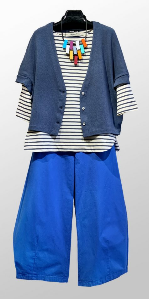Mes Soeurs et Moi cropped cap-sleeve cardigan, over a Mama B striped a-line tee. Paired with Mes Soeurs et Moi cropped brushed cotton pants.