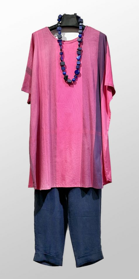 Tamaki Niime long cotton tunic dress, over a pair of Elemente Clemente tapered linen pants.