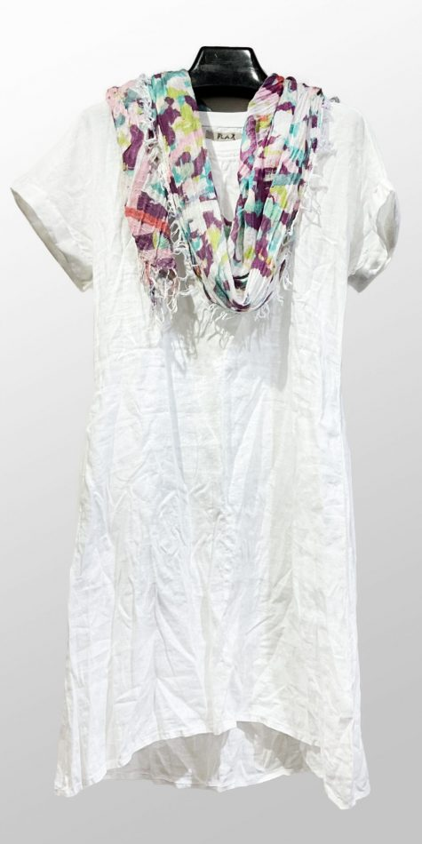 Flax crushed 100% linen tee shirt dress, paired with a Tamaki Niime 100% cotton printed scarf.