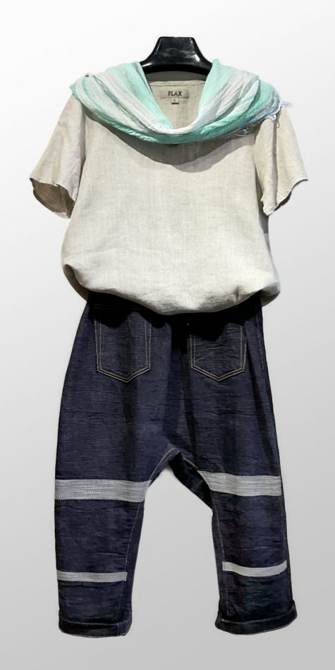 Flax 100% linen short sleeved tee in Natural, over Tamaki Niime drop-rise denim pants in a special stripe weave. Paired with a small 100% cotton scarf.