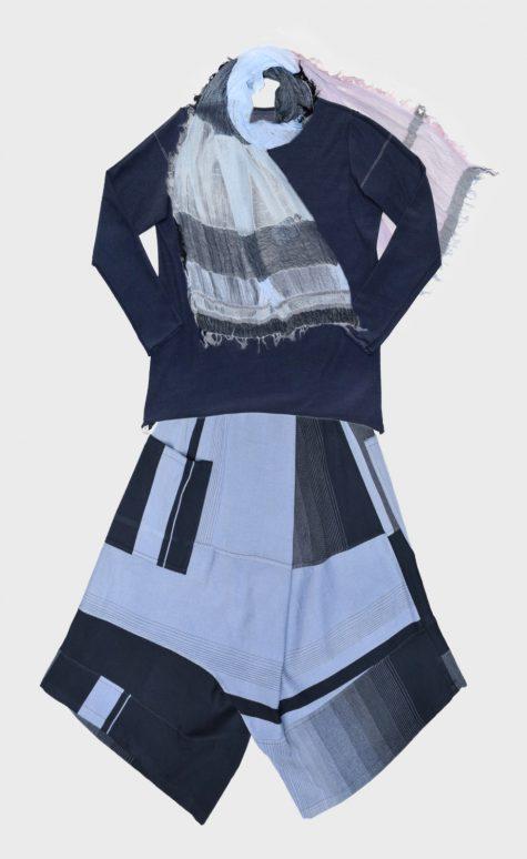 Tamaki Niime onesize long sleeve cotton tee, over Tamaki Niime reversible drop-rise pants. Paired with a medium Tamaki Niime cotton scarf.