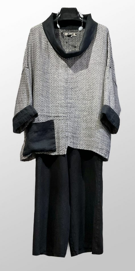 Flax cowl neck linen pullover in a special weave, over Flax Floods in black.