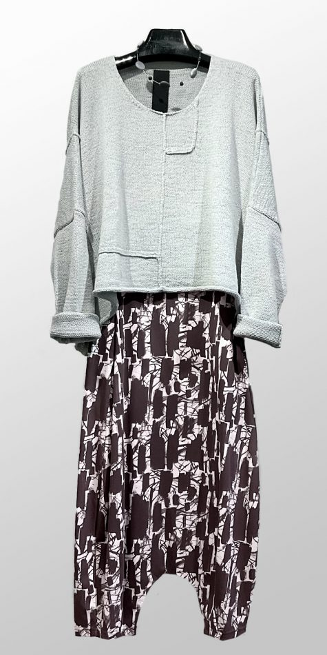 Rundholz Black Label onesize knit pullover, over Mama B drop-rise pants in printed cotton knit.