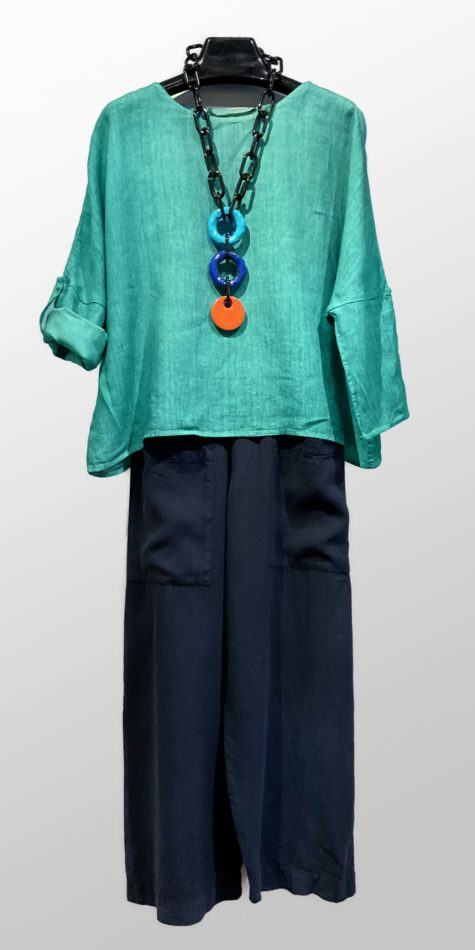 Elemente Clemente boxy linen top, over Elemente Clemente wide-leg linen pants with big pockets.