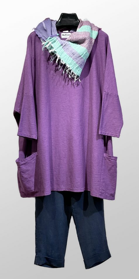 Motion onesize two-pocket tunic in Amethyst purple, over Elemente Clemente linen tapered-leg pants.