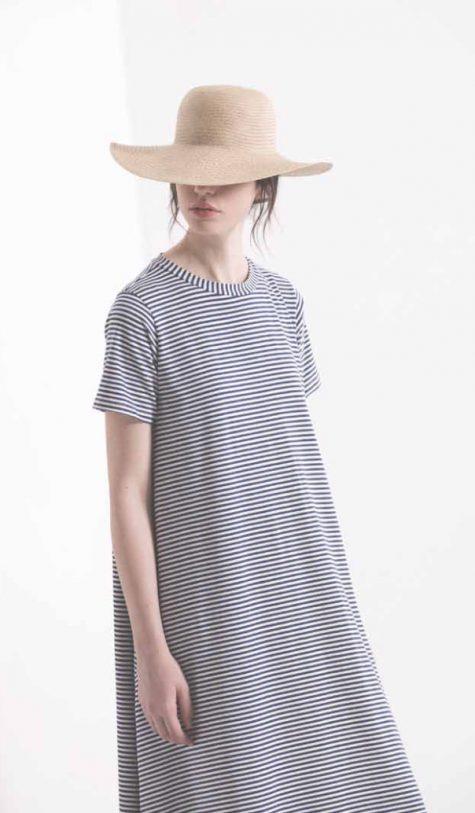 Neirami A-line short sleeeve cotton knit dress.