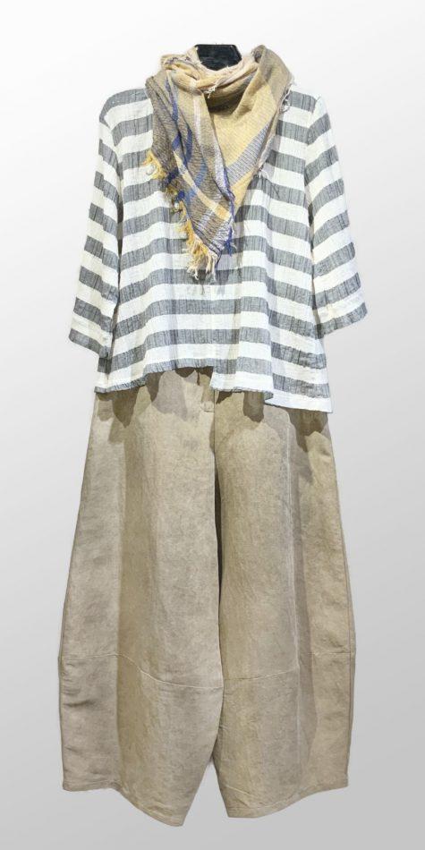Neirami asymmetric crinkle cotton top, over Neirami linen taffeta bubble pants in sandy brown.