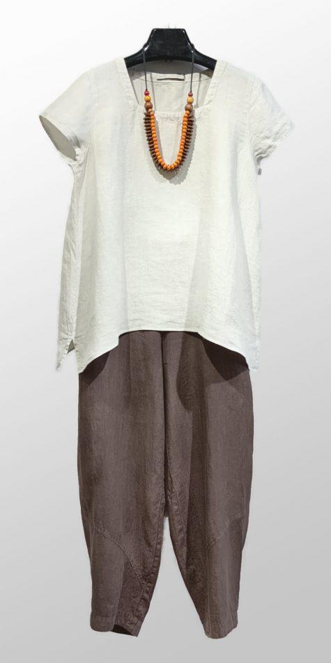 Elemente Clemente short-sleeve linen tee, over Oska handkerchief linen trousers.