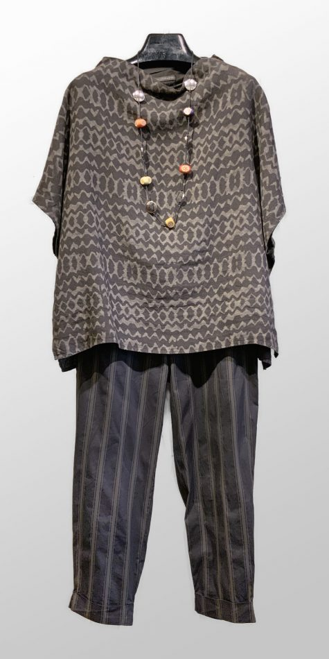 Elemente Clemente etched funnel-neck linen blouse, over Elemente Clemente cotton-stretch tapered pants.