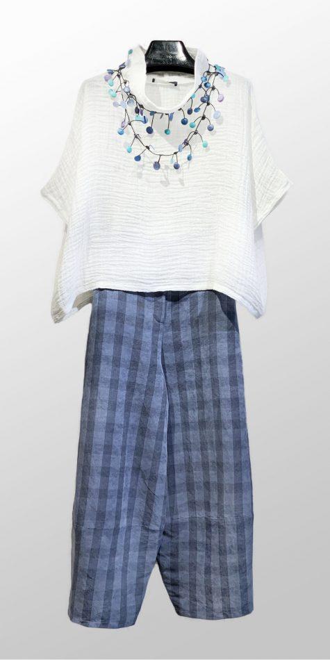 Neirami linen double-gauze topper, over Neirami linen taffeta bubble pants in blue check.