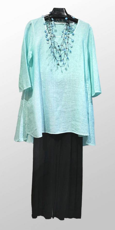 Elemente Clemente square-neck linen tunic, over Motion bamboo-rayon bubble pants.