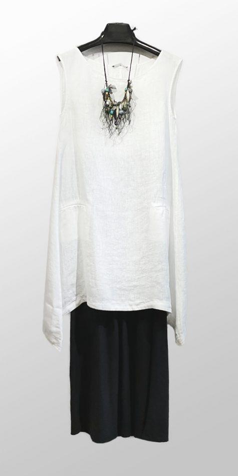 Neirami sleeveless linen tunic, over Motion bamboo-rayon bubble pants.