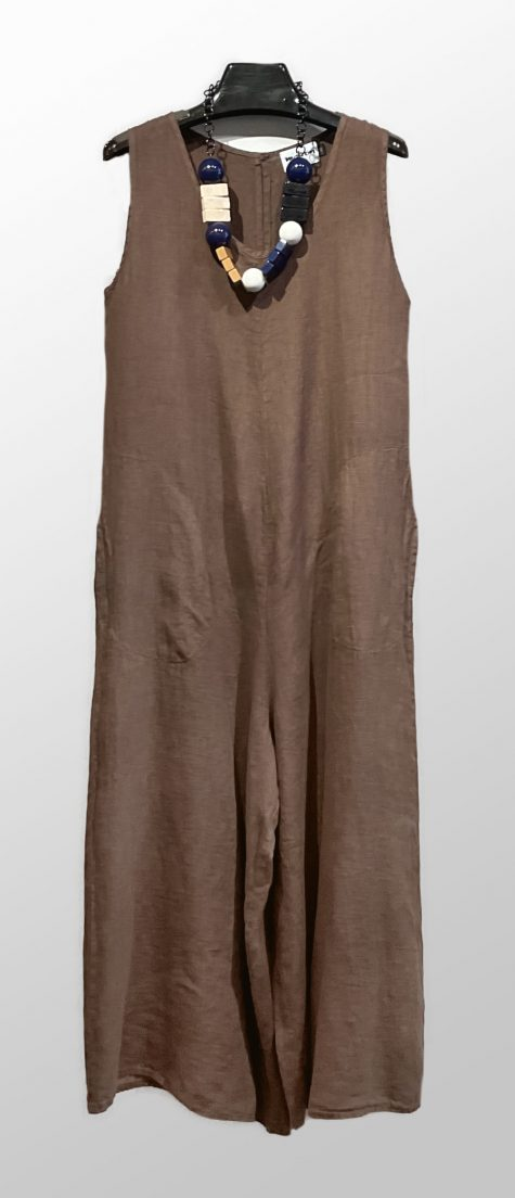 Motion 100% linen wide-leg jumpsuit, in chocolate brown.