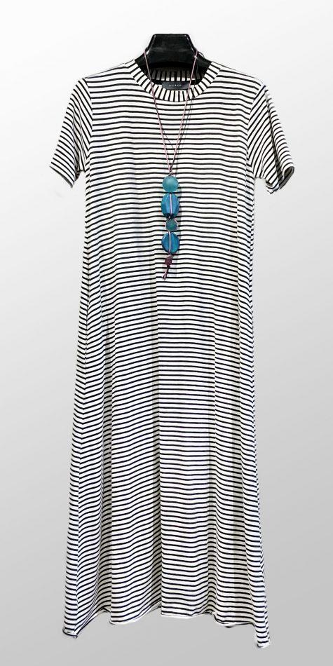 Neirami striped A-line short-sleeved dress.
