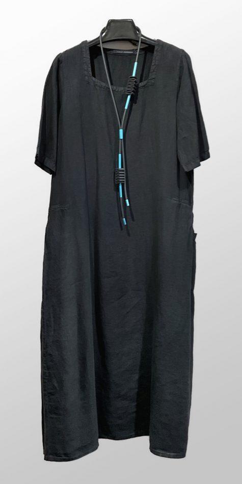 Elemente Clemente long square-neck linen dress with an A-line skirt.