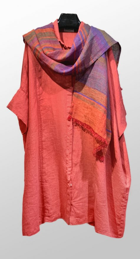 Motion 100% linen onesize kimono shirtdress in coral red. Paired with a Flax 100% linen striped scarf.