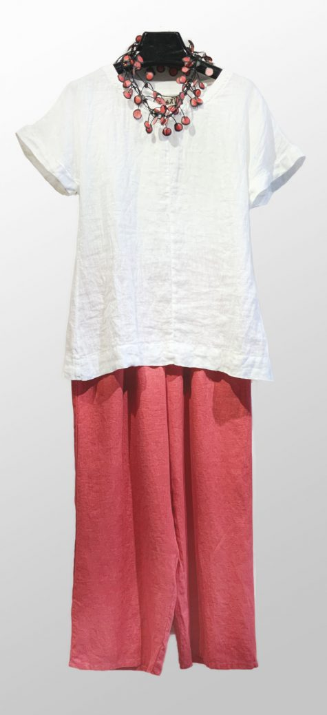 Flax crushed linen tee, over Flax floods in rhubarb red.