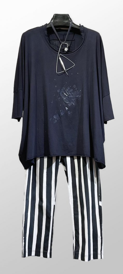 Rundholz Black Label oversize splatter tee, over Rundholz Black Label cropped slim technical pants.