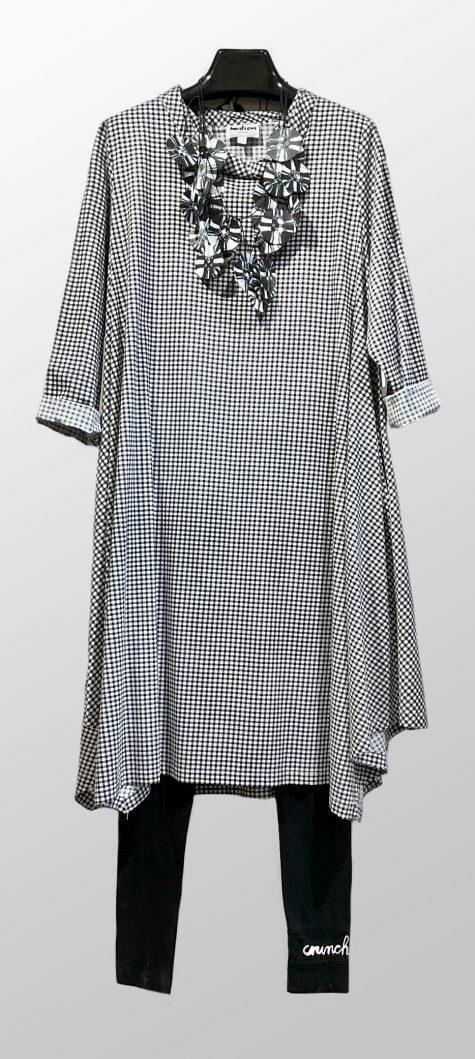 Motion A-line gingham tunic-dress, over Rundholz Black Label printed leggings.