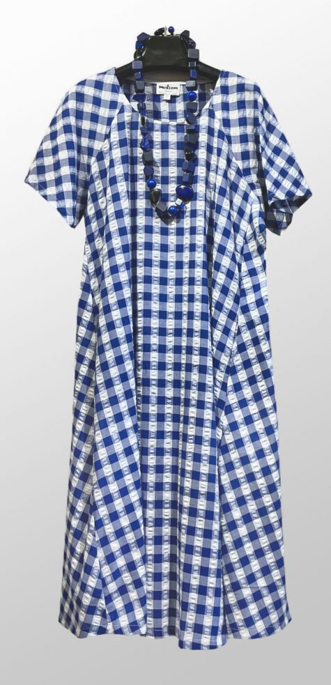 Motion 100% cotton seersucker gingham dress. Paired with a Sobral blue resin necklace.