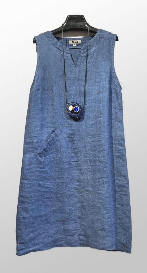 Flax sleeveless yarn-dye keyhole dress.