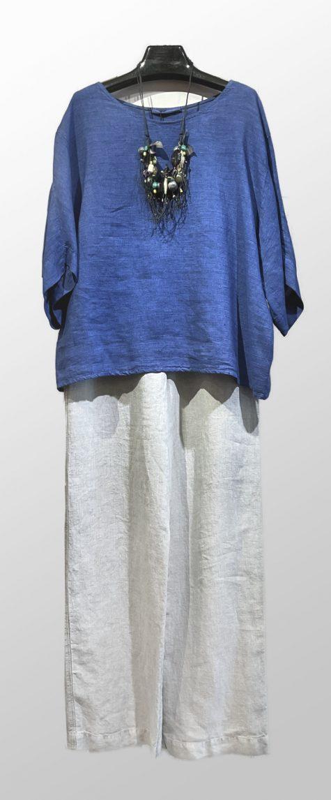 Elemente Clemente pinstripe linen boxy blouse, over Oska long straight-leg linen pants.