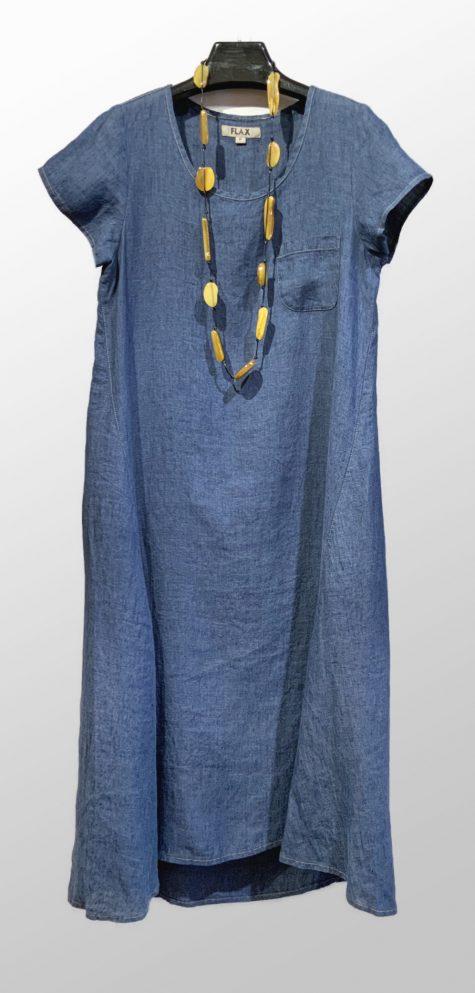 Flax full-length linen dress in denim blue.