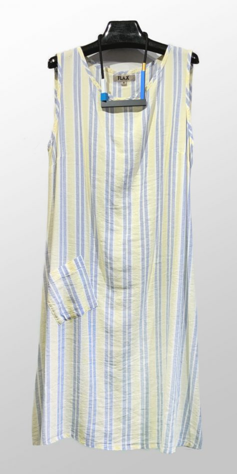 Flax sleeveless striped linen dress.