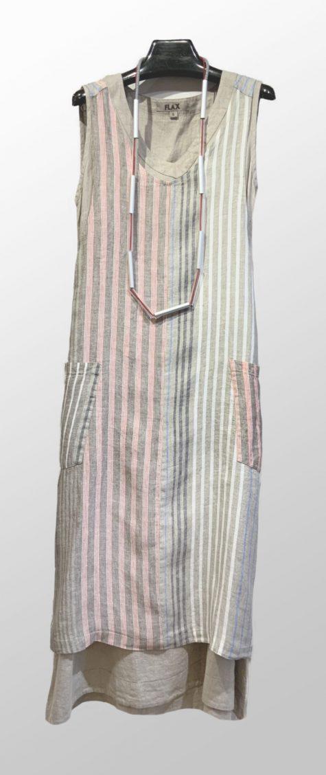 Flax striped linen 2-pocket apron, over a long Flax linen dress.