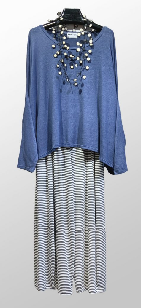 Motion linen knit onesize top, over Motion bubble pants in white and grey stripe bamboo rayon.