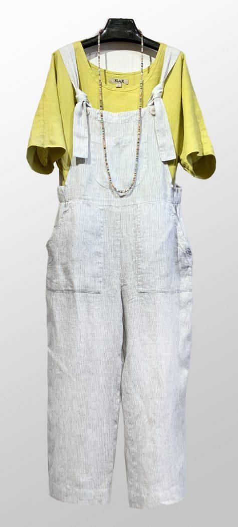 Flax linen dolman-sleeve top, under Flax pinstripe linen overalls.