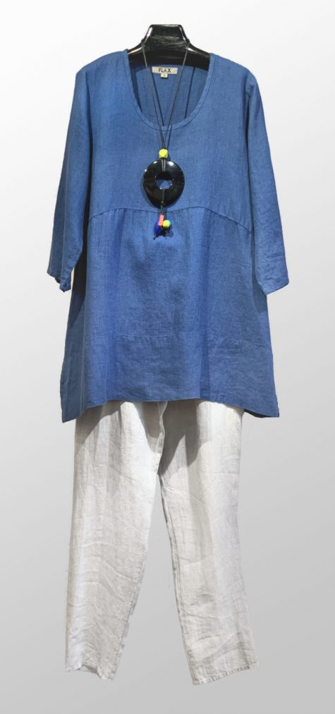 Flax 3/4 sleeve linen tunic, over Elemente Clemente tapered linen pants with an optional tie belt.