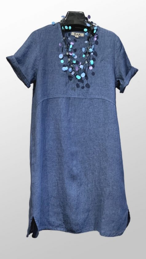 Flax 100% linen knee-length denim dress.
