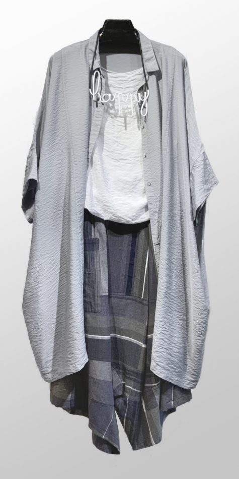 """Motion onesize parachute shirtdress, over a Motion parachute rayon tank top. Paired with Tamaki Niime 100% cotton drop-rise pants. Finished with a Samuel Coraux """"happy"""" necklace."""