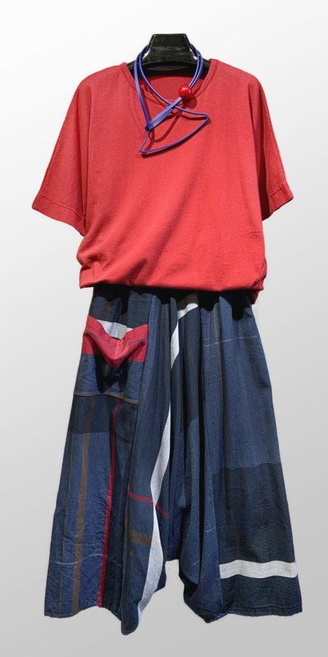Tamaki Niime 100% cotton knit tee, over Tamaki Niime 100% cotton drop-rise pants.