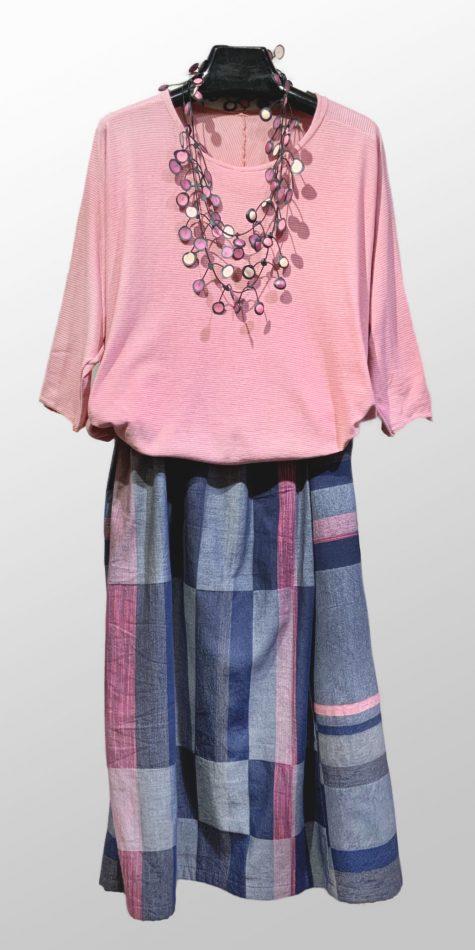 Tamaki Niime 100% cotton dolman-sleeve tee, over a Tamaki Niime 100% cotton skirt.