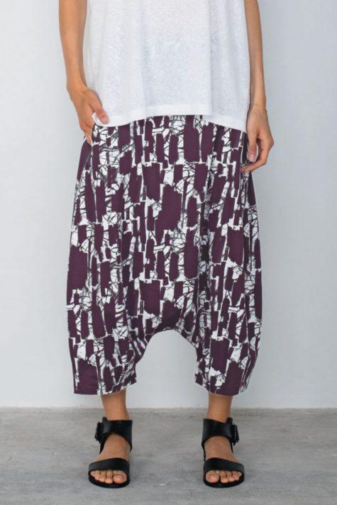 Mama B printed knit drop-rise pants.