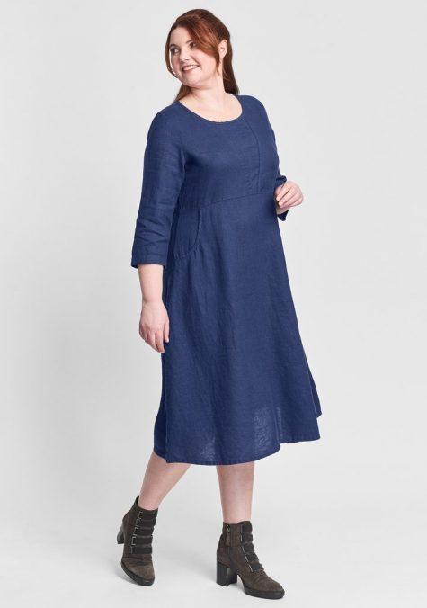 Flax 100% linen high-waist dress.