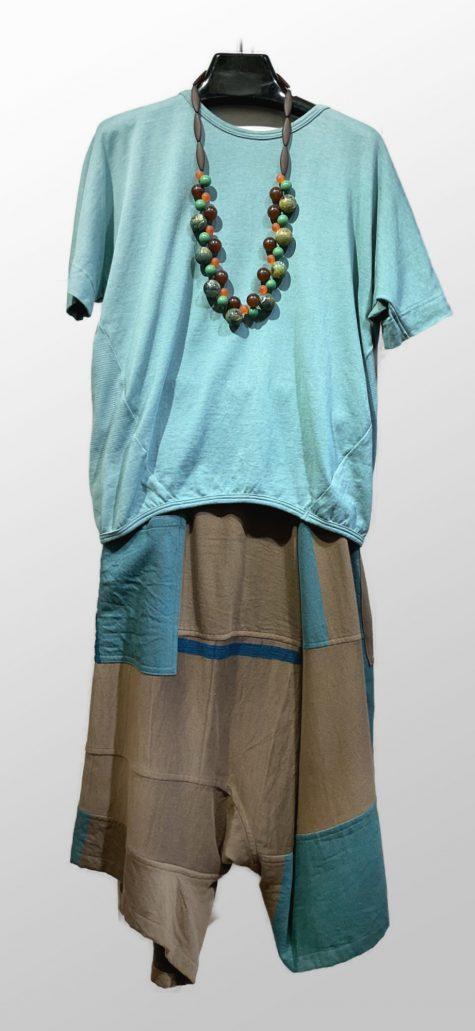 Tamaki Niime 100% cotton short-sleeve tee, over Tamaki Niime 100% cotton pants.