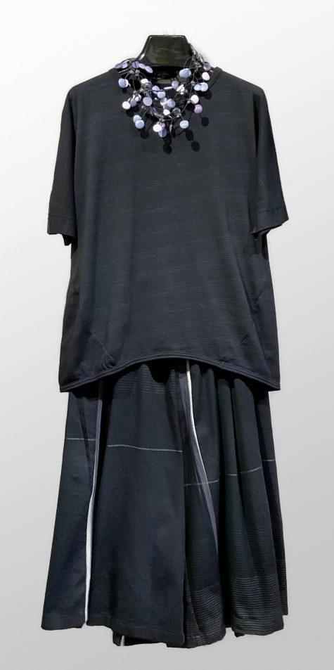 Tamaki Niime 100% cotton short-sleeve tee, over Tamaki Niime 100% cotton wide-leg pants.