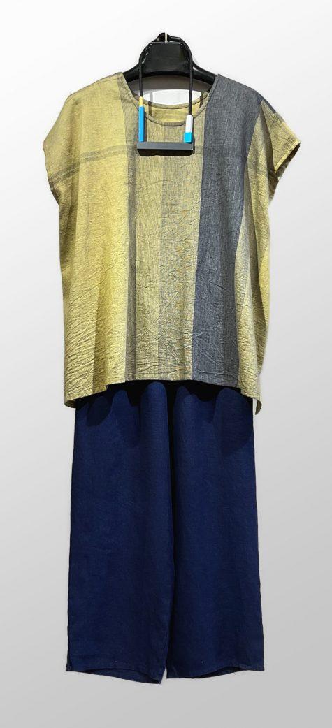 Tamaki Niime 100% cotton cap-sleeve blouse, over Flax floods in indigo blue.