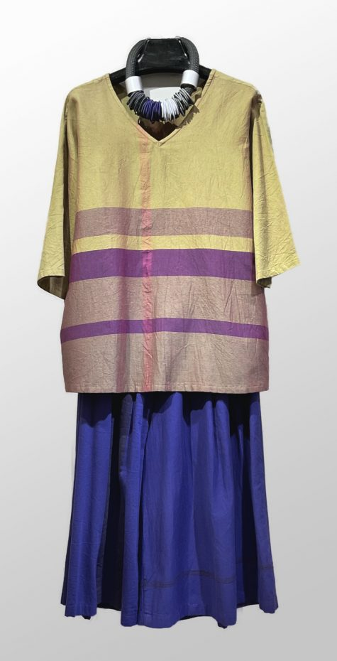 Tamaki Niime 100% cotton reversible blouse, over a Tamaki Niime 100% cotton skirt.