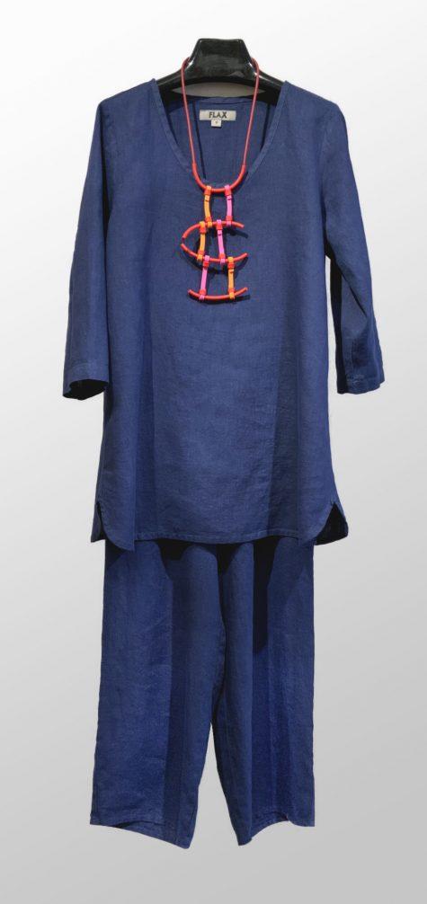 Flax 100% linen 3/4 sleeve tunic, over matching blue Floods.