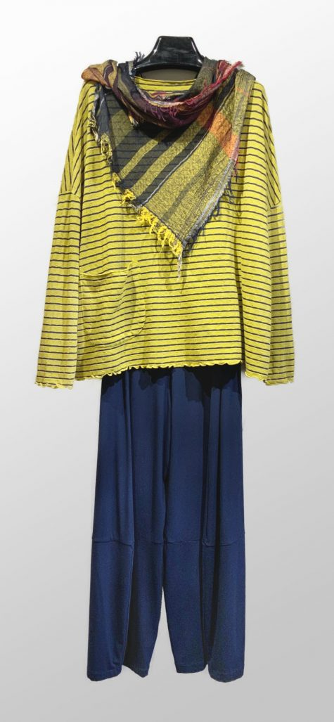 Motion tencel-blend onesize striped pullover, over Motion bamboo-rayon bubble pants.