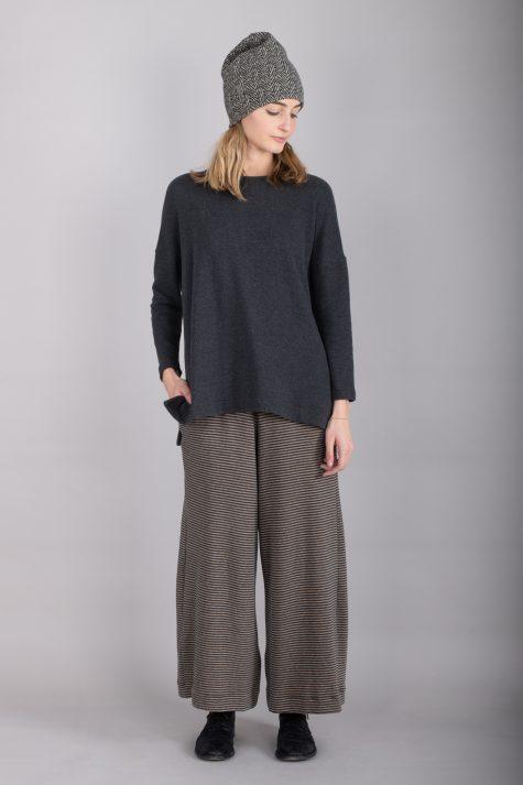 Mama B cozy knit drop-shoulder top, over Mama B cozy knit striped pants.
