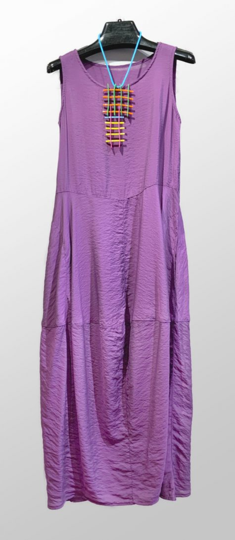 Motion parachute rayon bubble dress in amethyst purple, paired with a colorful Samuel Coraux pendant.